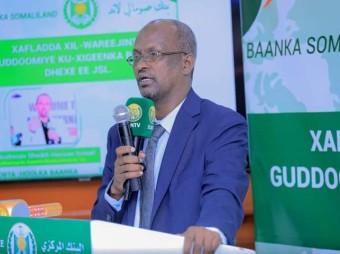 Gudoomiyaha Baanka Dhexe Ee Somaliland Oo Soo Dhaweeyay Gudoomiye Kuxigeenka Cusub Ee Baanka Dhexe Ee Somaliland + Muuqaal